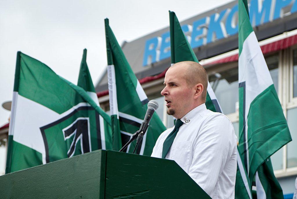 Simon Lindberg speaks at Nordic Resistance Movement demonstration