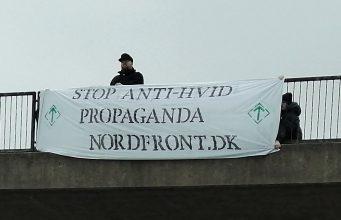 Stop anti-white propaganda banner, Denmark