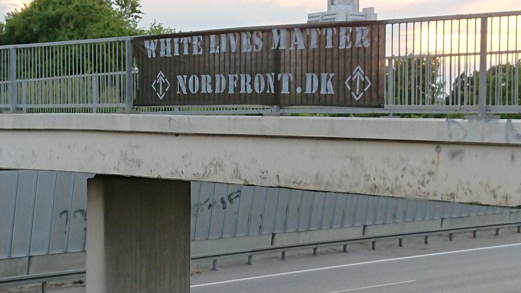 White Lives Matter banner, Denmark