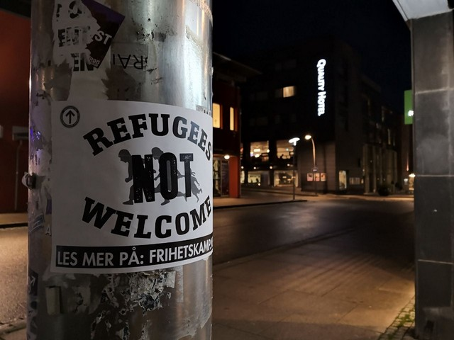 """""""Refugees not welcome"""" sticker"""