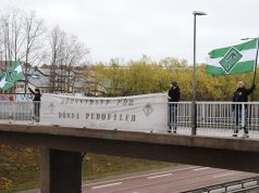 Nordic Resistance Movement banner action, Västerås