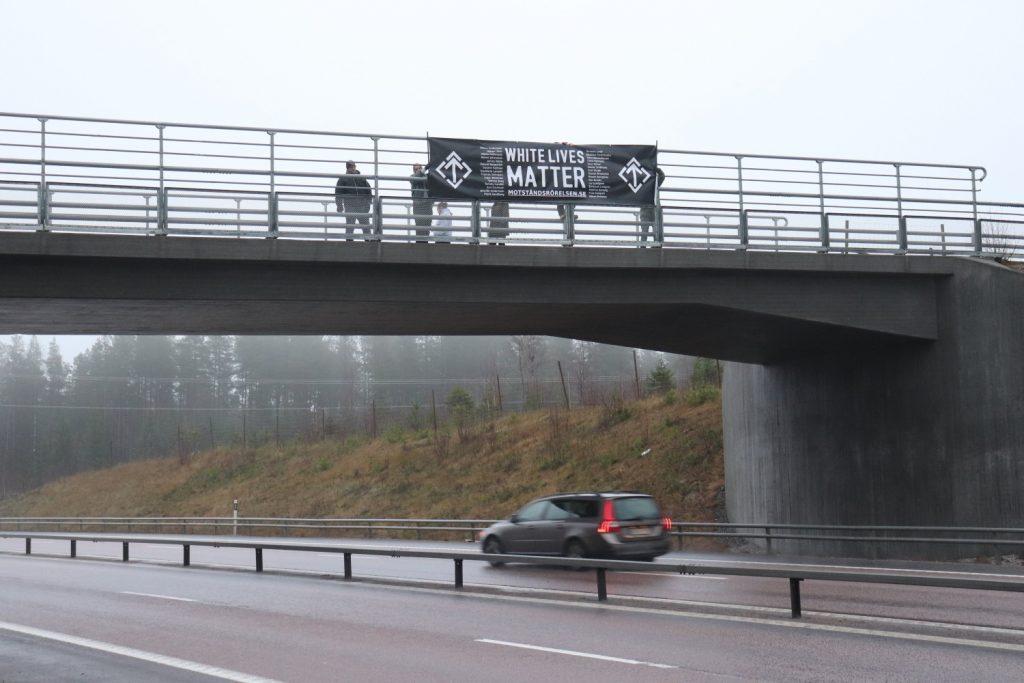 "Nordic Resistance Movement ""White Lives Matter"" banner action"
