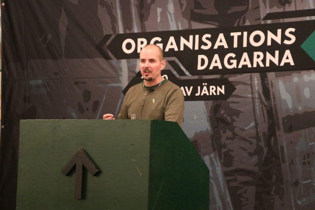 Simon Lindberg at the Nordic Resistance Movement's Organisation Days