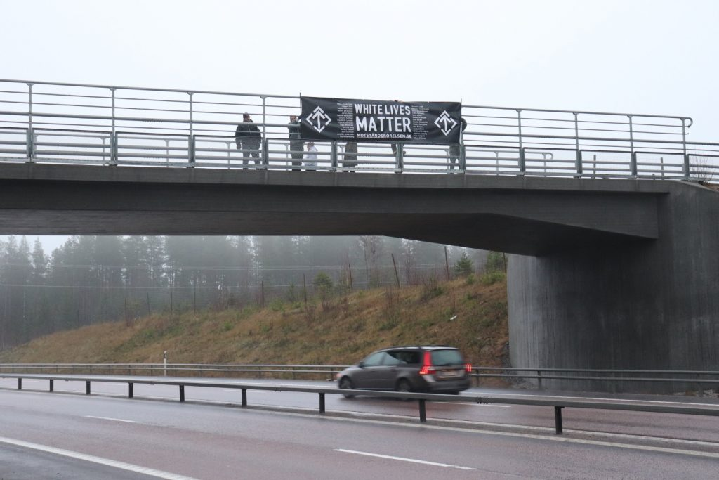 White Lives Matter banner in Sweden