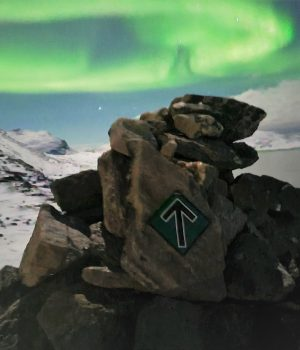 Nordic Resistance Movement stickers in Greenland under the northern lights