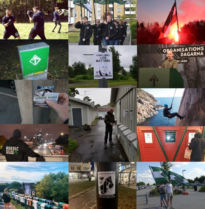 Nordic Resistance Movement 2020 activities collage