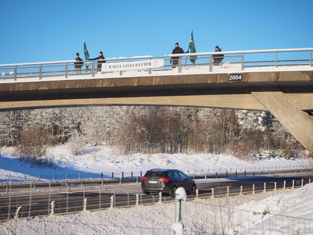 Nordic Resistance Movement White Lives Matter bridge action, Skåne