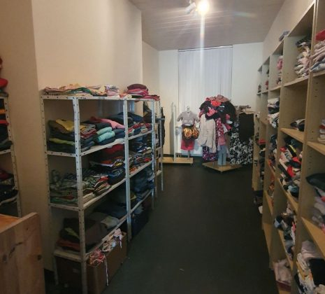 Clothes for needy people at Der III. Weg's P130 building in Plauen, Germany