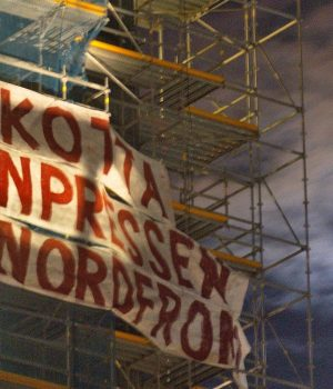 Nordic Resistance Movement banner on Dagens Nyheter Tower, Stockholm