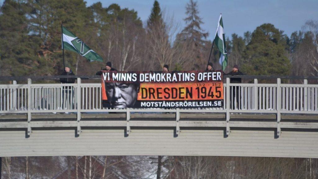 Banner action at Nordic Resistance Movement Dresden memorial activism in Sweden