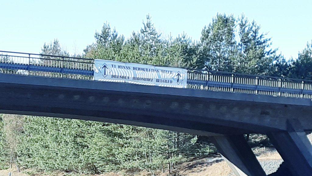 Nest 3 banner action during Nordic Resistance Movement Dresden memorial activism in Sweden