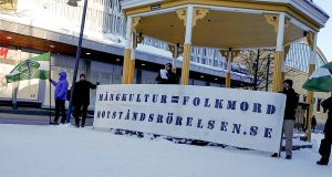 Nordic Resistance Movement banner action honouring victims of multiculturalism in Luleå