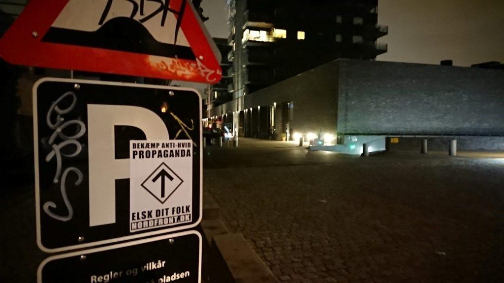 """""""Fight Anti-White propaganda"""" NRM poster, Copenhagen"""