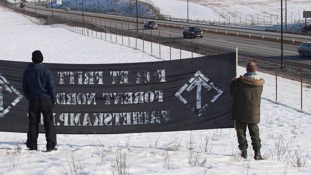 Nordic Resistance Movement banner action in Hamar, Norway