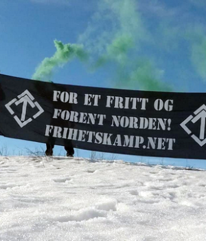 Nordic Resistance Movement banner action in Hamar, Norway