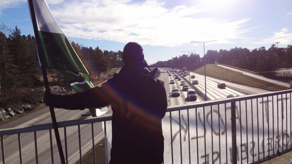 Nordic Resistance Movement banner action in Stockholm