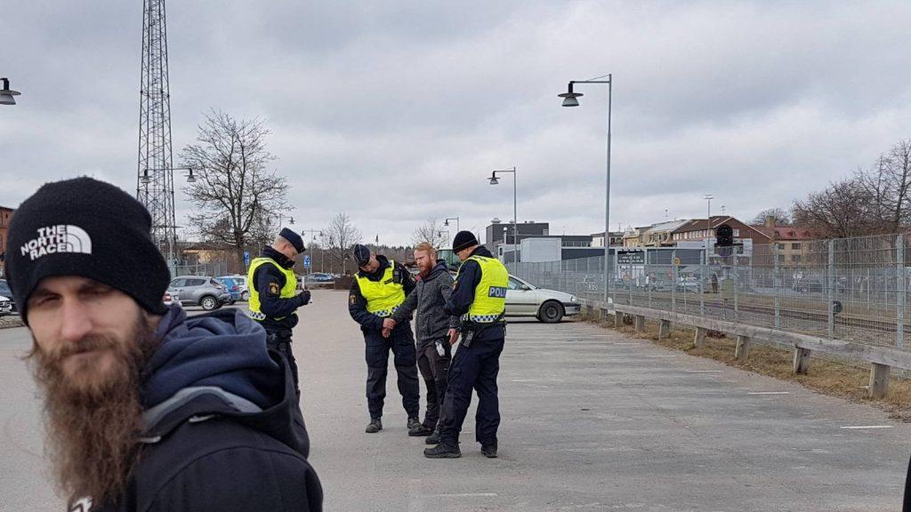 Police harassment during Nordic Resistance Movement activity in Vetlanda