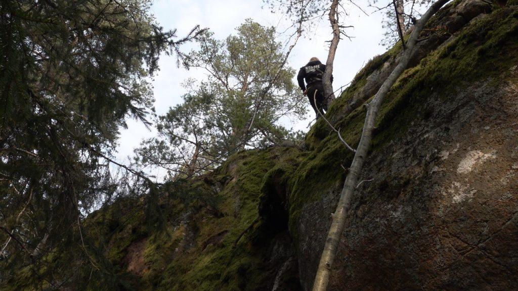 Rappelling in NRM Sweden's Nest 1