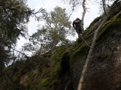 Rappelling in NRM Sweden's Nest 1