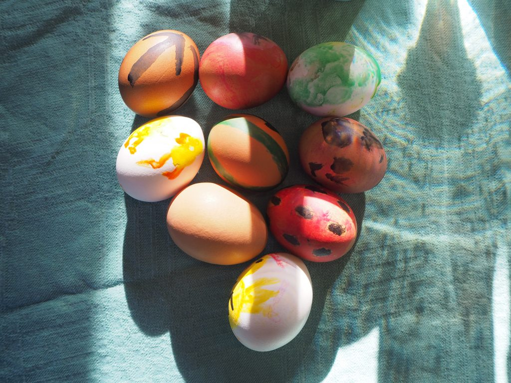 Painted eggs at NRM Nest 3 Easter meeting