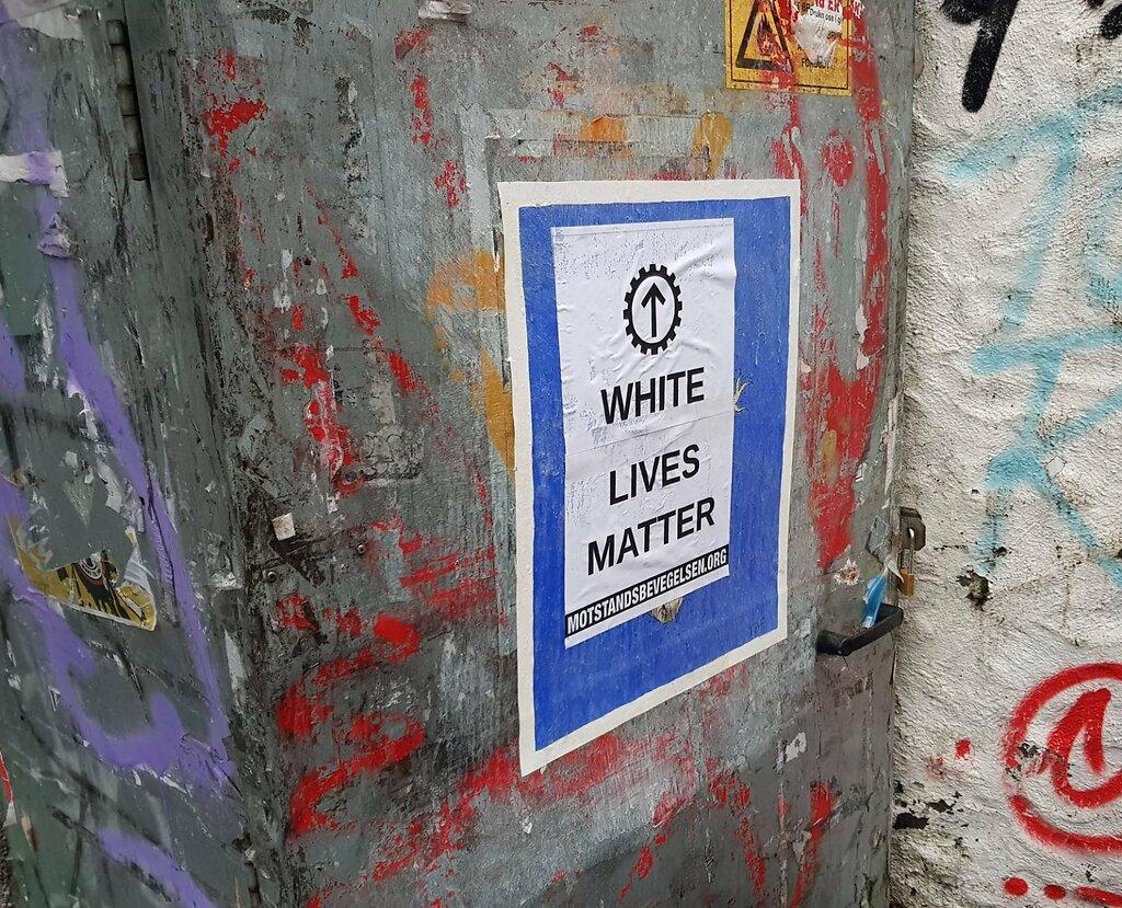 NRM White Lives Matter poster action, Bergen, Norway