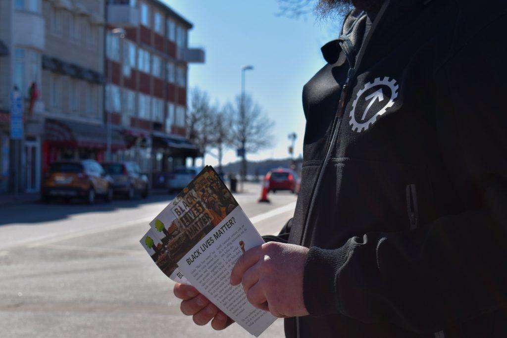Nordic Resistance Movement activist in Strömstad, Sweden