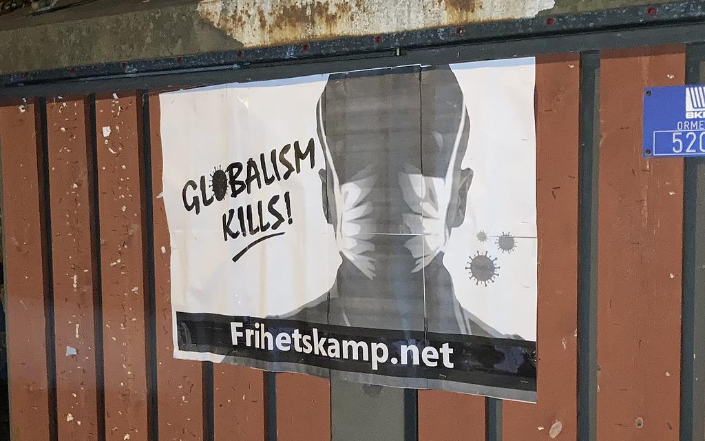 "Nordic Resistance Movement ""Globalism Kills"" poster, Norway"