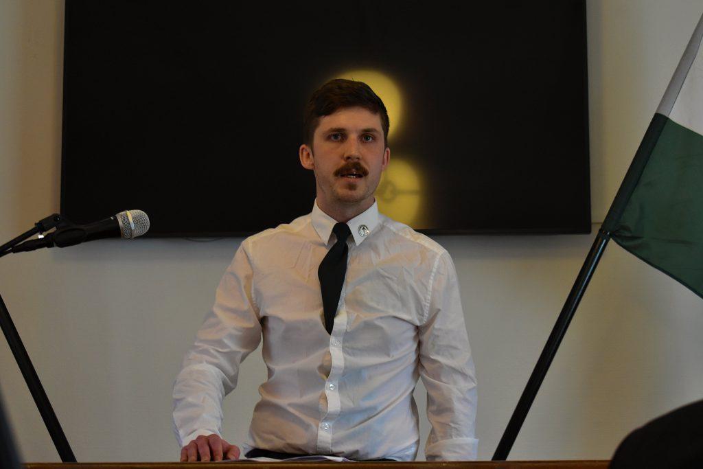 Sebastian Elofsson speaks at Nordic Resistance Movement meeting