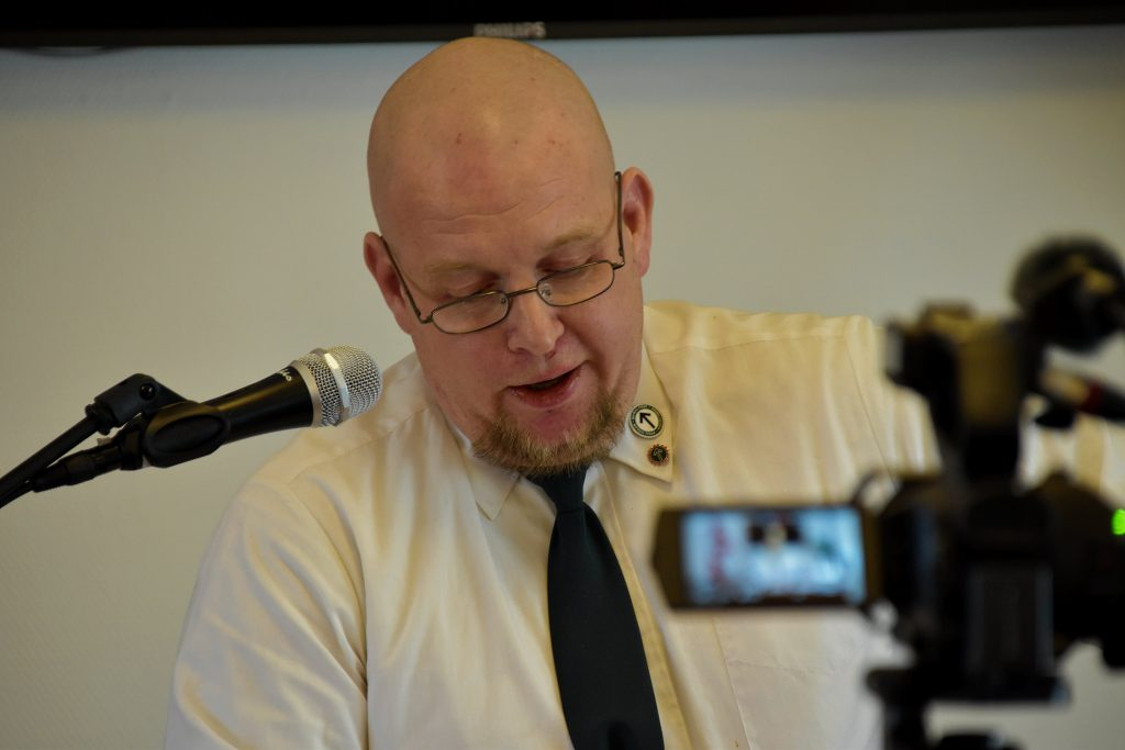 Samuel Almroth speaks at Nordic Resistance Movement meeting