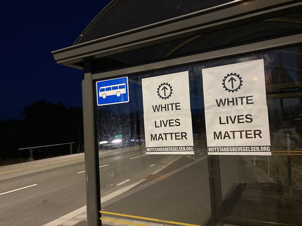 """Nordic Resistance Movement """"White Lives Matter"""" posters, Norway"""