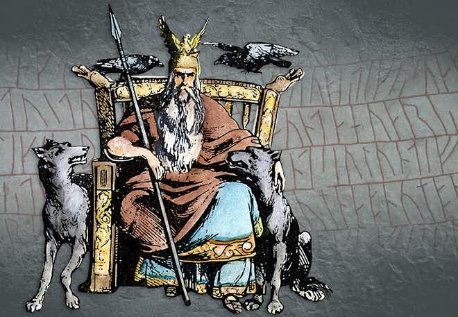 Drawing of Odin on his throne