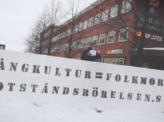 """""""Multiculturalism = Genocide"""" NRM banner in Skellefteå, Sweden"""