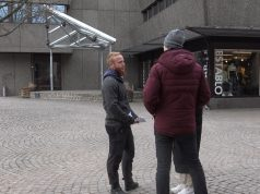 NRM leafleting in Vetlanda, Sweden