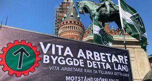 NRM 1 May 2021 banner activism, Sweden