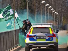 NRM banner action in Stockholm on May Day 2021