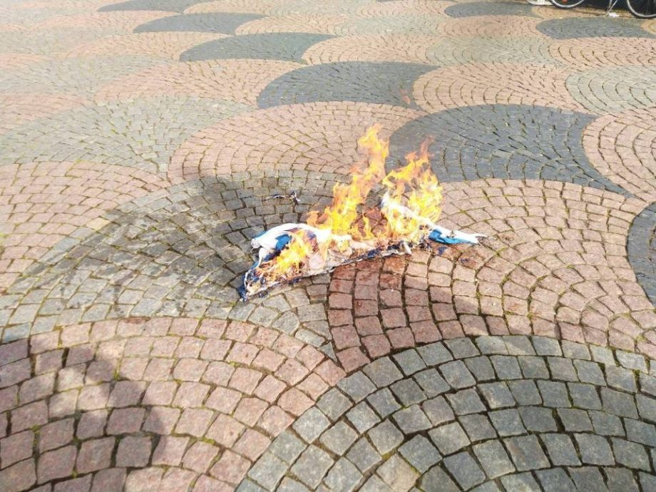 Israeli flag burns at Nordic Resistance Movement protest against Israeli attacks on Palestine, Kristianstad, Sweden