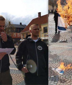 Nordic Resistance Movement protest against Israeli attacks on Palestine, Kristianstad, Sweden