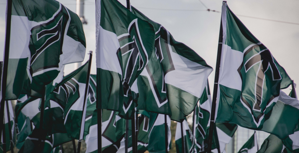 Nordic Resistance Movement flags waving in the wind