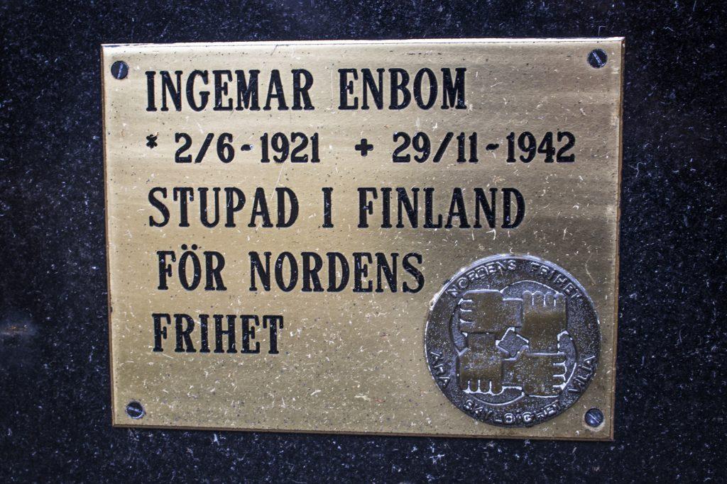 Grave of Ingemar Enbom, Swedish volunteer soldier in Finland
