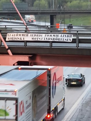 Nordic Resistance Movement Tommie Lindh memorial banner activism