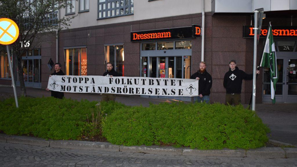 Nordic Resistance Movement banner action in Vetlanda