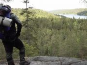 NRM activist on the Bohusleden trail, Sweden