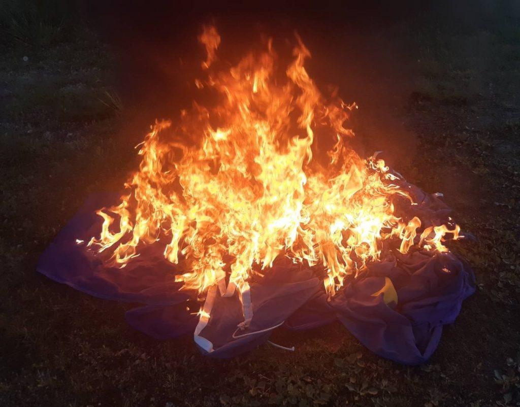 Burning EU flag