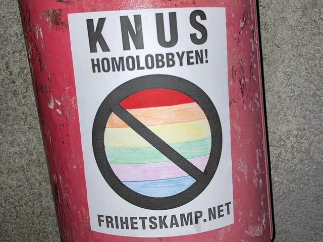 """""""Crush the homo lobby"""" Nordic Resistance Movement poster"""