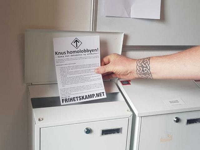 """Crush the homo lobby"" Nordic Resistance Movement leaflet"