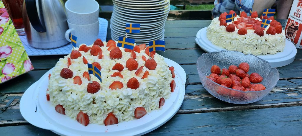 Strawberry tarts on a table at Swedish National Day celebration