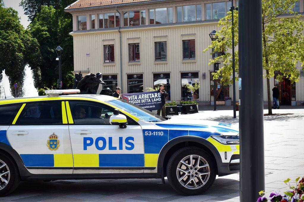 Police car at Nest 2 NRM activity, Skövde, Sweden
