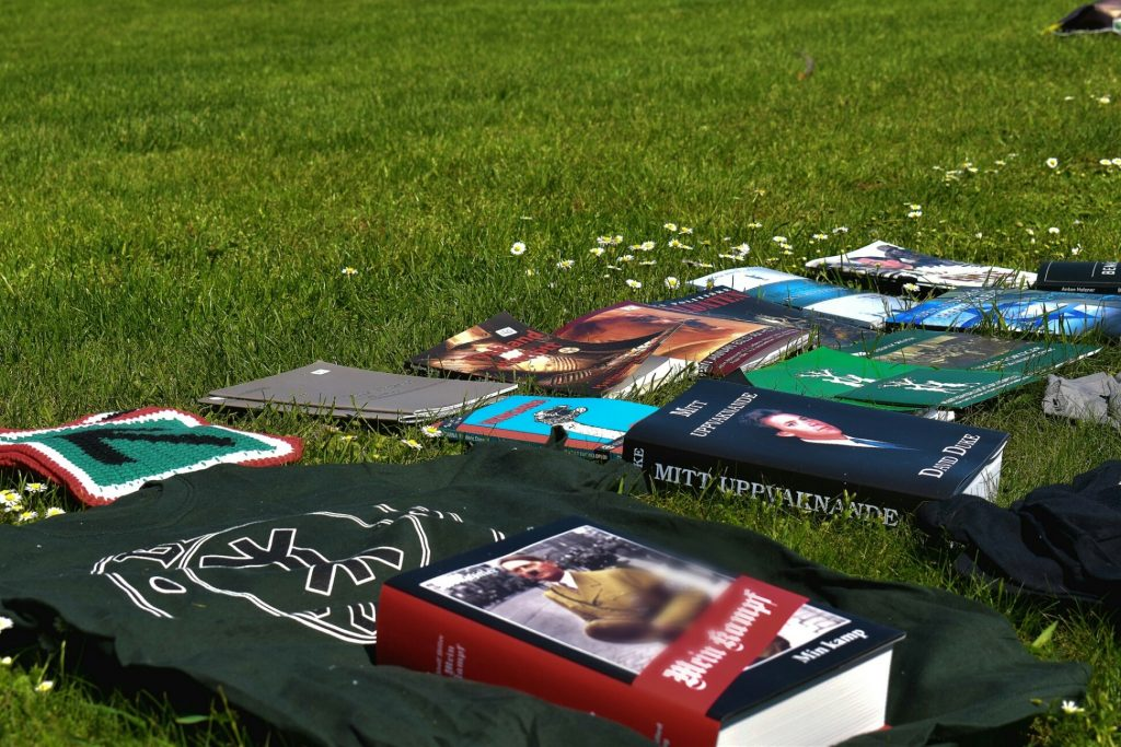 Swedish nationalist books at Nordic Resistance Movement National Day celebration