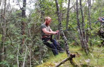 Abseiling in the forest in Sweden's Nest 7