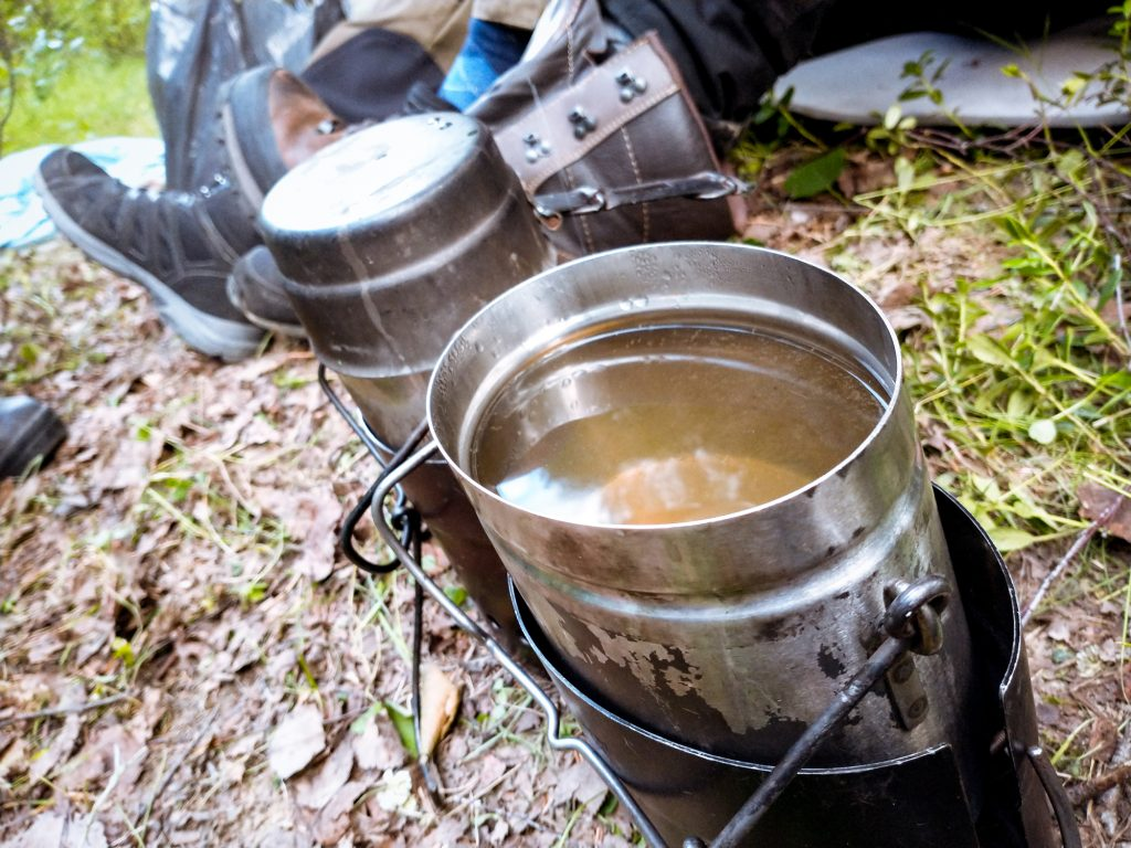 Boiling water at a campsite